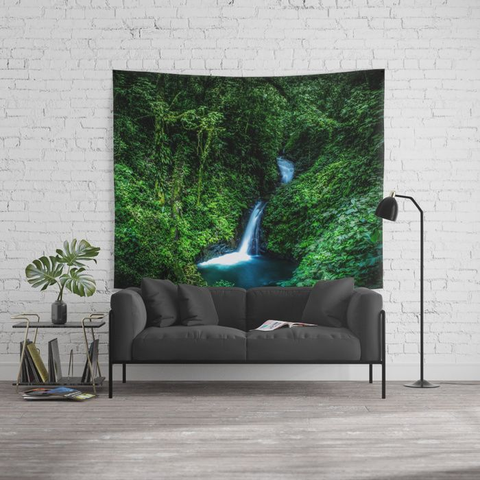 Jungle Waterfall. A small glade opens up with a beautiful waterfall deep in the jungle of the Cloud Forest Reserve of Monteverde, Costa Rica. #forest #rainforest #nature #green #landscape #waterfall #walltapestry #tapestry #homedecor