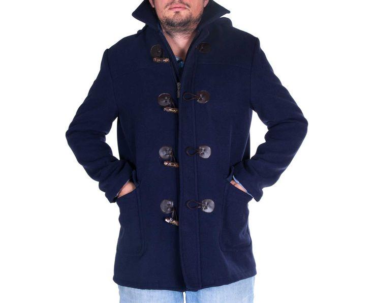 Ανδρικό Παλτό Μοντγκόμερι σε μαύρο και μπλέ χρώμα και κλασσική γραμμή, 50% Μαλλί, 50%