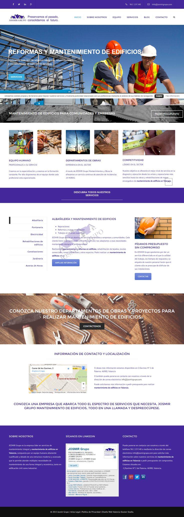 Proyecto web para JOSMIR Grupo, empresa especializada en construcción y mantenimiento integral con un amplio abanico de servicios orientados tanto a particulares como a empresas y comunidades de vecinos.