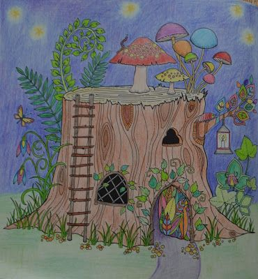 Johanna Basford: Enchanted Forest coloring book - log house