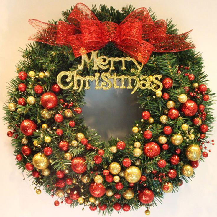 2016 40 см Рождеством Сосна Ротанга Гирлянды с Шариками Дверь Висячие Украшения Рождественский Венок Рождественские Украшения для Дома R086(China (Mainland))