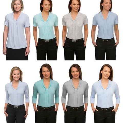 Our most popular ladies top has got even better! The Pippa top is now available in coloured prints in charcoal, jade, and blue, in addition to the original white print, They blend beautifully with the existing solid colour range. So if your team is lookin