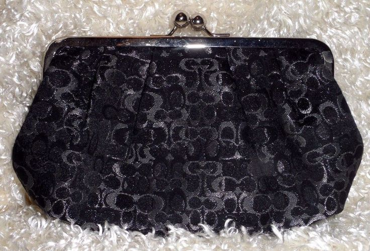 Coach Wallet Coin Black silver shiny Signature Framed Large Kisslock Rare Size #Coach #CoinPurse