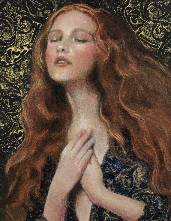 Beautiful Redheaded Woman 5x4small Original Etsy Renaissance Art Paintings Renaissance Paintings Rennaissance Art