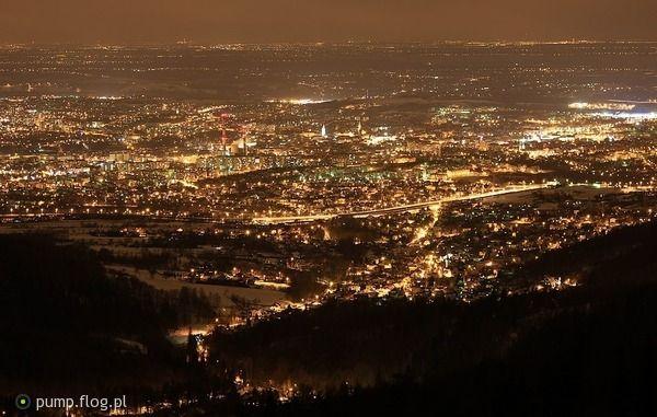 Bielsko-Biała nocą  Bielsko Biała POLAND