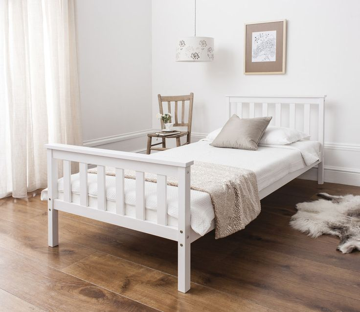 Single Bed in White 3ft Single Bed Wooden Frame WHITE - in Home, Furniture & DIY, Furniture, Beds & Mattresses | eBay