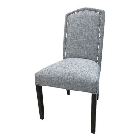 Side chair with nailhead-trimmed upholstery and exposed wood legs.     Product: Set of 2 chairs    Construction Material:...