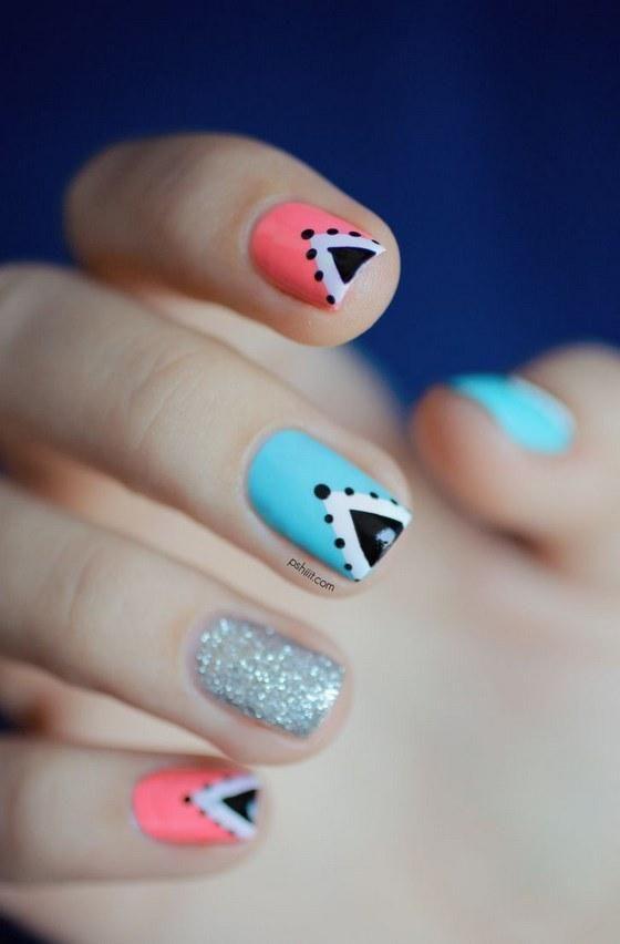 combinacion de colores coral azul y blanco