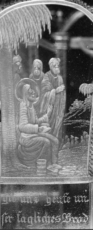 Detail -  A North Bohemian engraved 'Vater unser' beaker, by Anton Simm, Gablonz, circa 1835 The flared campana form decorated with a representation of the Lord's Prayer, the front arched panel with a seated figure of the Lord inscribed Vater unser der du bist im Himmel (Our Father who art in Heaven), above two kneeling angels inscribed geheiliget werde dein Nahme (hallowed be thy name), flanked by a continuous series of six arched panels depicting various religious scenes, each inscribed…
