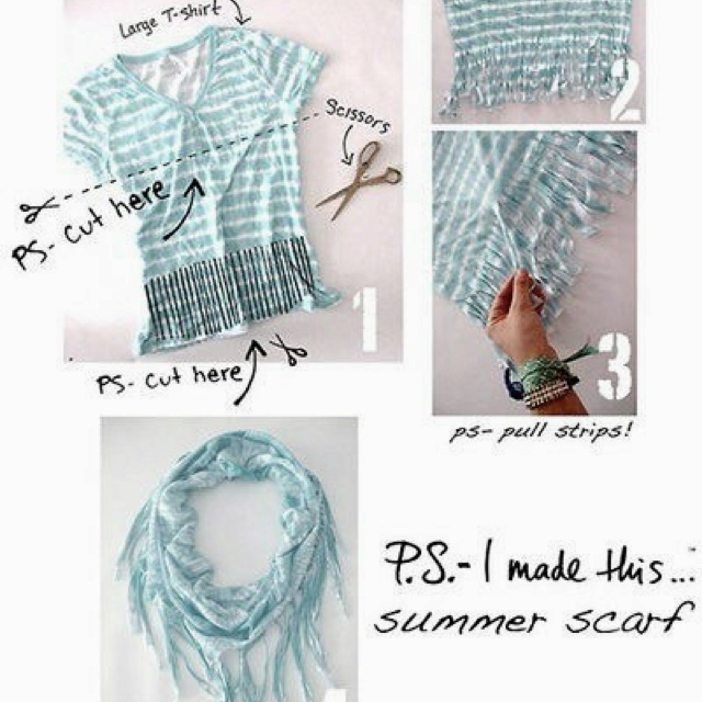 Easy to make scarf with old shirts :)