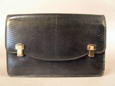 Vintage Celine black lizard handbag with clutch and Celine logo ...