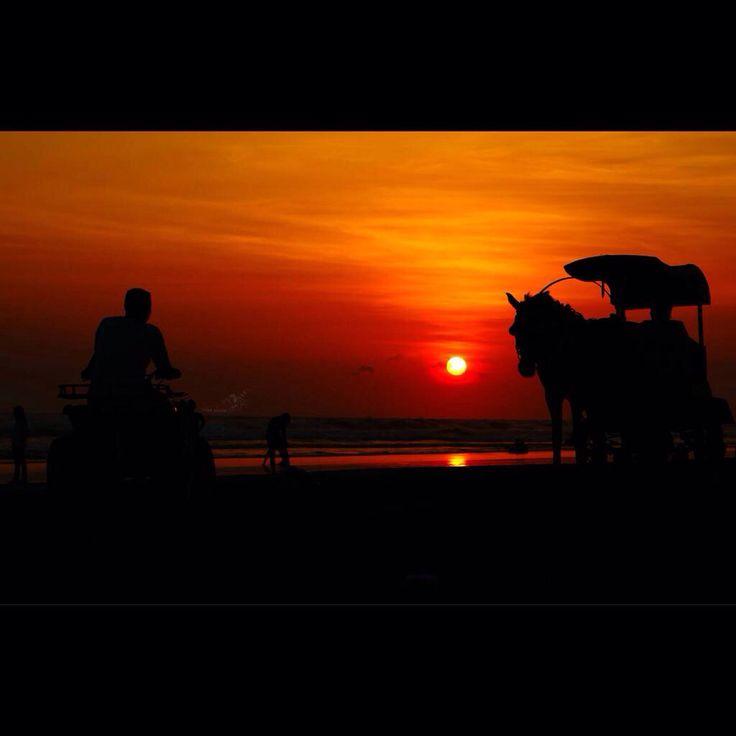 Sunset in parangtritis beach. Indonesia