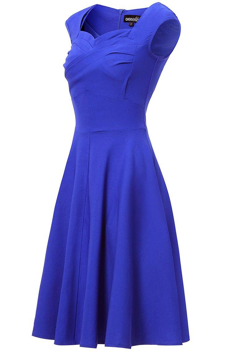 Gigileer Elegante 50er Damen Swing Kleider festliche Cocktail Hochzeit Abendkleid Knielang Blau S: Amazon.de: Bekleidung