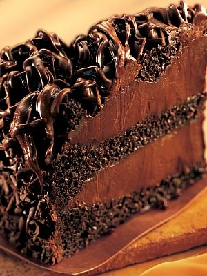 chocolate lovin' spoon cake. Chocolate cake with thick layers of chocolate fudge filling...