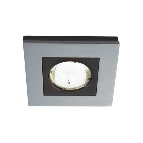 59650 48 10 Heka Recessed Spotlight - Single square recessed low energy ceiling light finished in silver and black.
