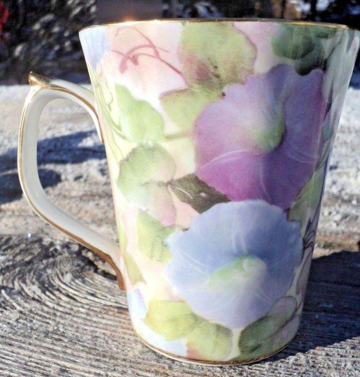Skye McGhie Morning Glory Porcelain Tea Cup Mug Pastel Petunias Artist Signed  #SkyeMcGhie