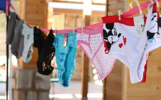 Guess Whose? All the Hens bring a new pair of panties that would somehow remind the Bride of them  - the Bride guesses which panties belong to which Hen - if she gets it wrong she takes a drink, if she gets it right, that Hen takes a drink... the Bride gets to keep all the underwear.