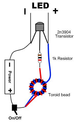 Schematic Diagrams: Joule Thief - use 2N4401 of BC337 transistor, the less will be brought as they can handle more amps