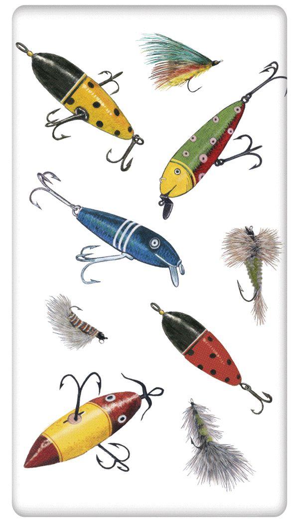 "Fishing Lures 100% Cotton Flour Sack Dish Towel Tea Towel - 30"" x 30"" by Designer Mary Lake Thompson"