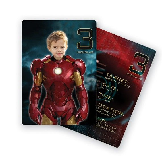 iron man party invitation idea. Pinning because it's awesome. ;)
