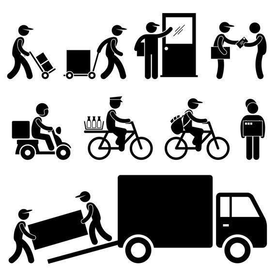 Delivery Man Postman Courier Post Postal Service Parcel Send Etsy Delivery Man Pictogram Stick Figures