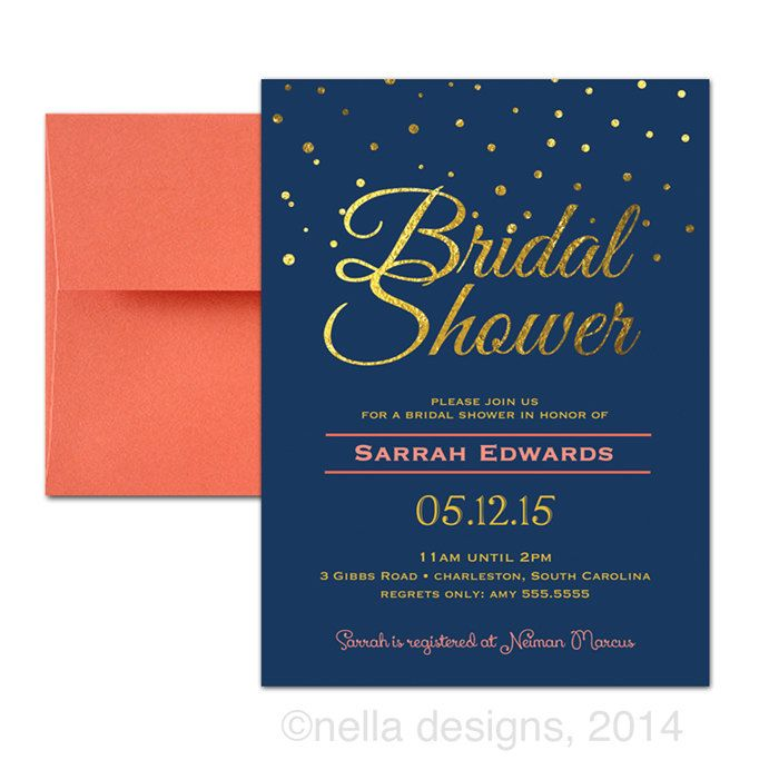 Coral And Navy Wedding Invitations Navy And Gold By Nelladesigns