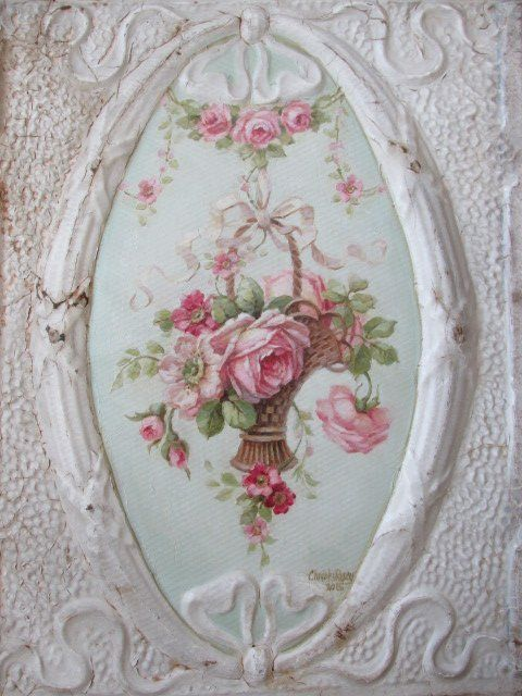 OMG Original Christie Repasy Oil Painting Basket Pink Roses on Old Ceiling Tin | eBay