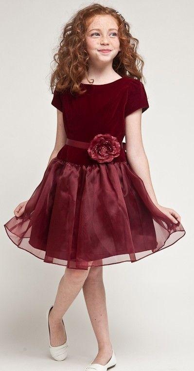 burgundy girls velvet holiday dresses