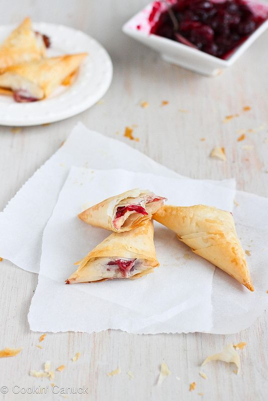 3-Ingredient Brie & Cranberry Phyllo Turnovers (only 58 calories each!)   cookincanuck.com #appetizer