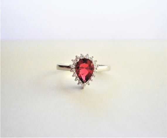 Natural Pear cut Ruby Simulated 925 Sterling Silver Engagement