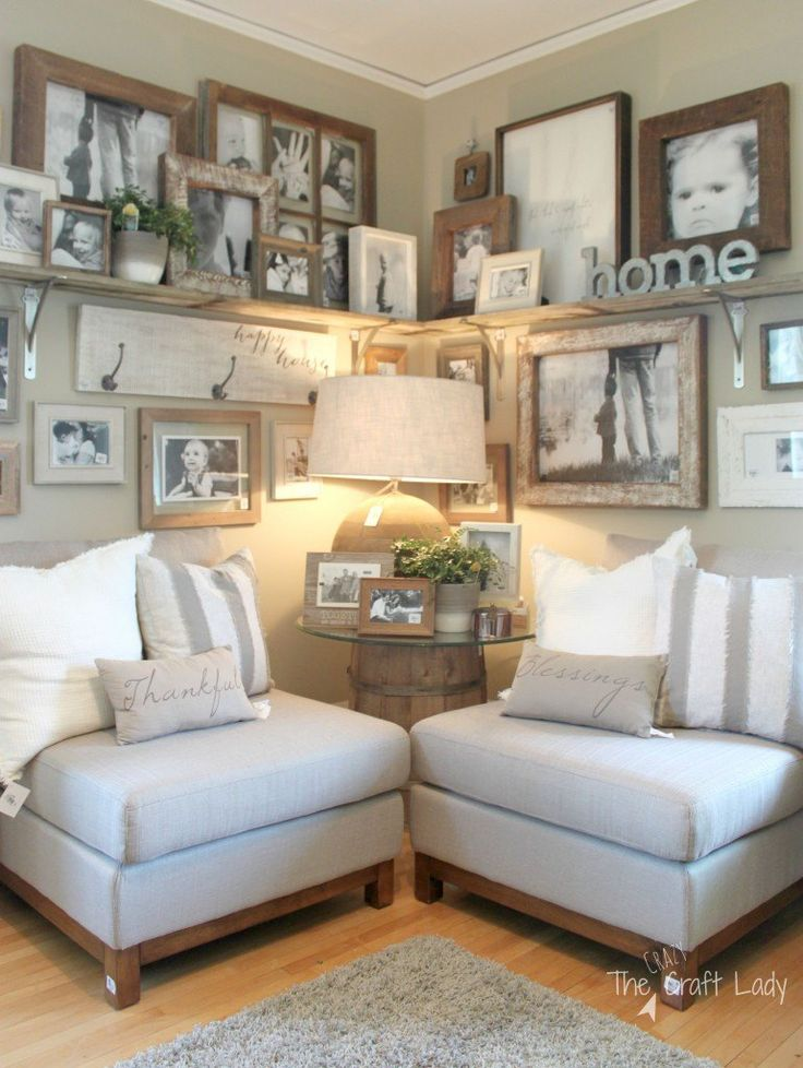 Best 25 rustic wall shelves ideas on pinterest shelf - Ideas decorating living room walls ...