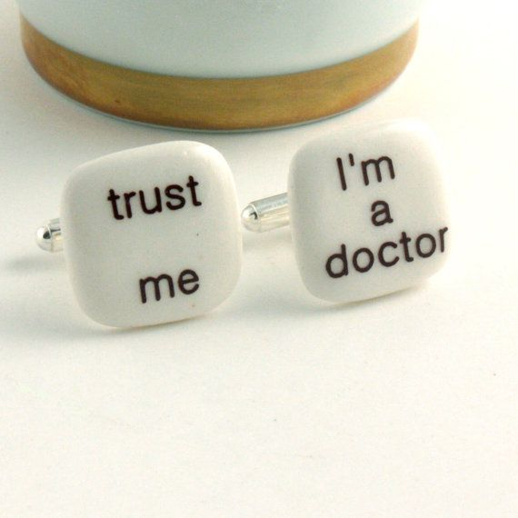 Doctor Cuff links Porcelain Trust Me Fun Handmade Gift Present Men White Brown Funny