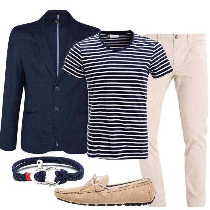 Outfit estivo per il quale ho scelto una giacca in lino blu, di linea casual, in puro lino, abbinata a chino, vita normale, vestibilità slim, tasche, lunghezza alla caviglia. T-shirt blu, in fantasia rigata, perfetta anche con un jeans, mocassino in fintapelle, fiocco, punta tonda, bracciale blu, chiusura in acciaio.