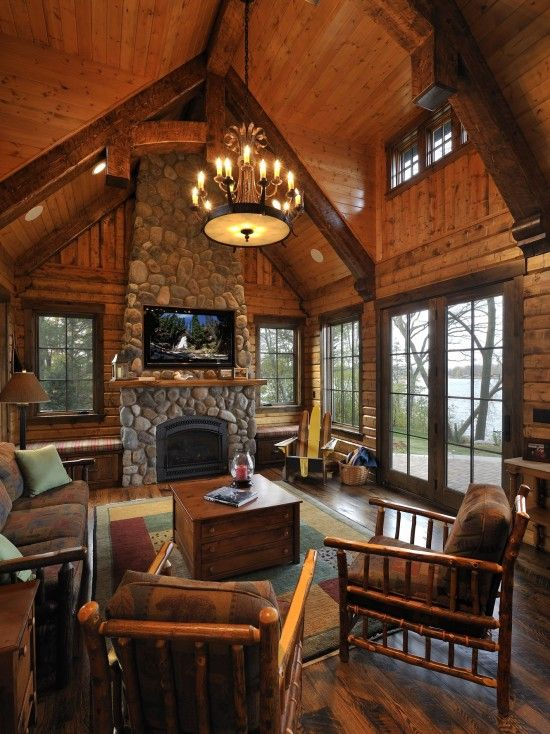 Living Room Log Cabin Kitchens Design, Pictures, Remodel, Decor and Ideas: Stones Fireplaces, Idea, Kitchens Design, Living Rooms, Window, Logs Cabins Kitchens, Lakes, House, Cabins Living