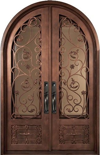 64x98 Blossom Iron Double Door. Beautiful Wrought Iron Front Entry Door  With Grille From Door