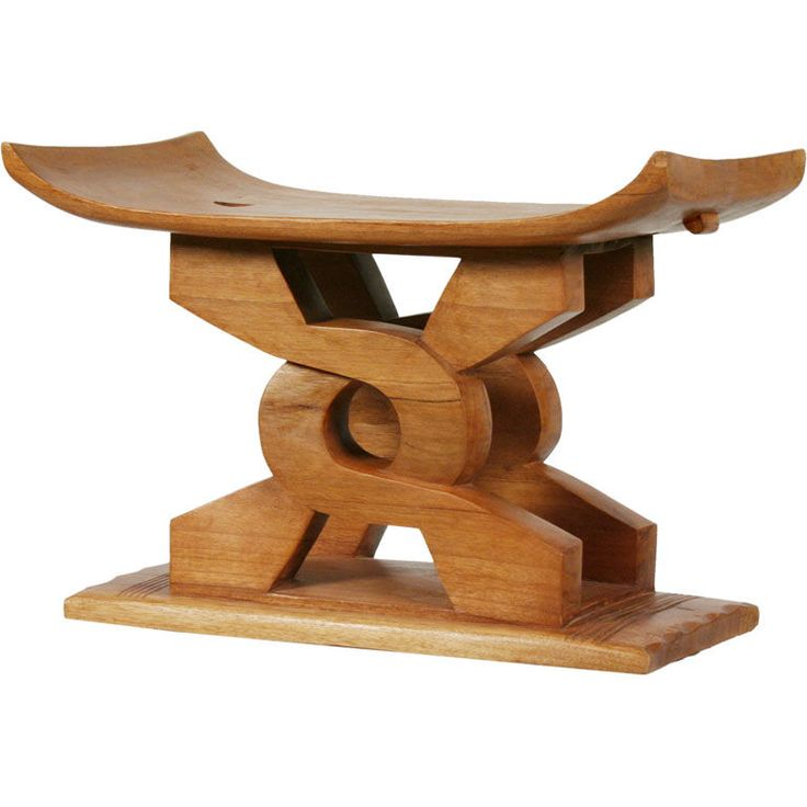 Carved Wooden African Stool  Ghana  20th Century  A carved wooden African stool having a curved seat raised on two carved twisting wooden supports on a slim plinth base. Ghanaian, 20th century.