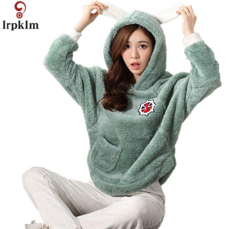 High Quality Women Cute Flannel Fleece Pajamas Sets Winter Long Sleeve Pyjamas Feminino For Women Hooded Sleepwear Homewear 803 #Affiliate