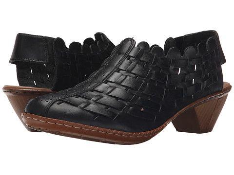 Brand Rieker Womens Sina 78 Back Strap Pumps Shoes Nero/Black Lthr