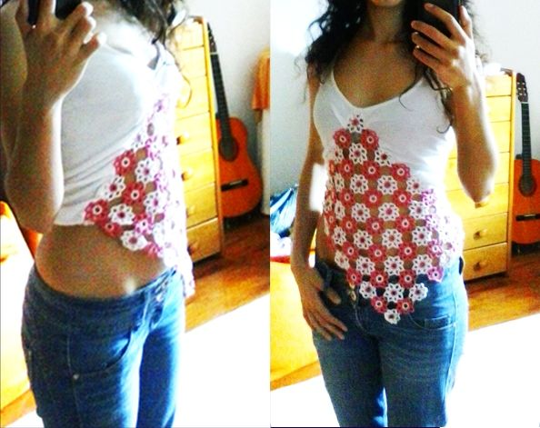 Old top turned into a New cute top, thanks to my aunt's lace with flowers pattern :)