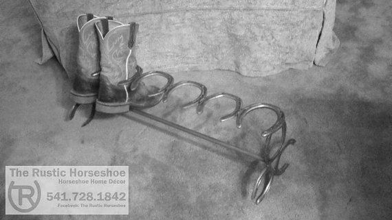 Horseshoe Boot Rack Holds 3 Pair of Boots by TheRusticHorseshoe, $60.00