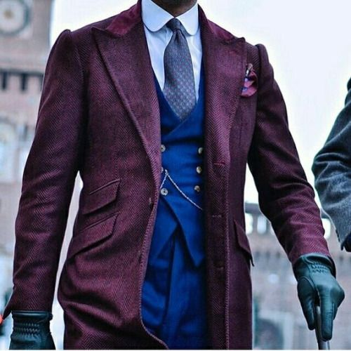 """everybodylovessuits: """"The overcoat rocks. Herringbone works perfectly with purple """""""