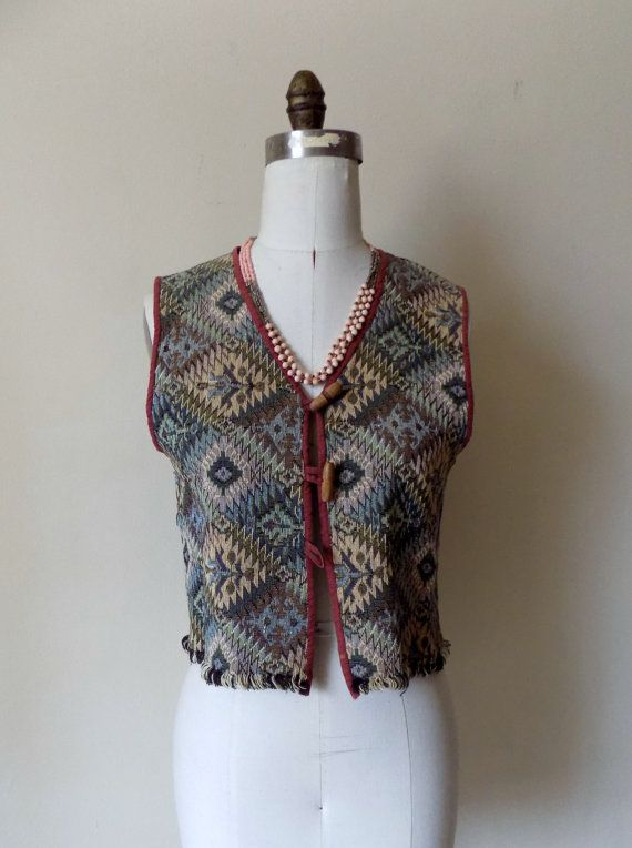 90s Tapestry Vest Tribes For Her Southwestern Woven