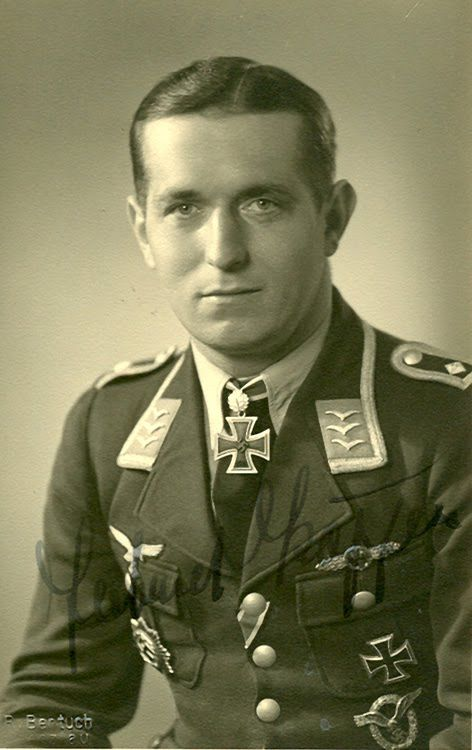 ✠ Gerhard Köppen (17 May 1918 – 5 May 1942) missing in action following combat north of Akmonaj, last seen swimming in the Sea of Azov.