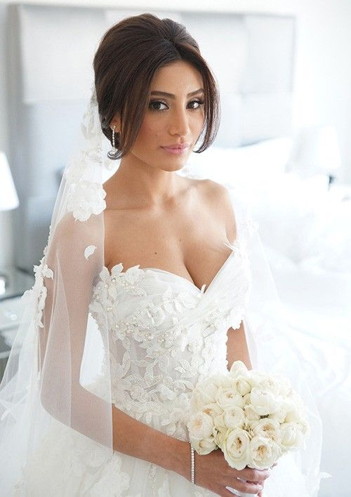 Ball Gown Sweetheart Cathedral Train Tulle Wedding Dress With Appliqued Beaded