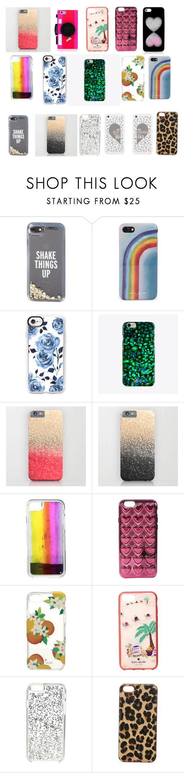 """""""cell phone outlet"""" by sofashcrush ❤ liked on Polyvore featuring Kate Spade, Marc Jacobs, Casetify, UPROSA, Lucky Brand, accessories, outlet and cellphonecases"""
