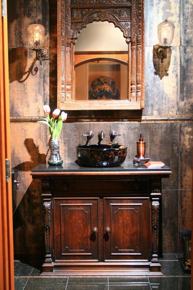 THOSE WALLS! Ooooo la la. British-Colonial-style home evokes an exotic vibe