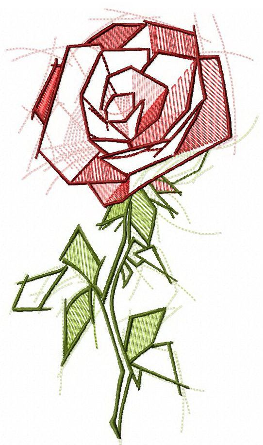 Sketchy Rose Embroidery Design Flowers Garden And Forest