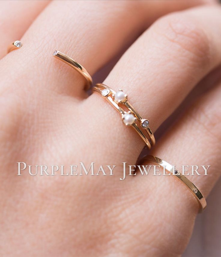 Akoya Pearl and VS F Diamond Petite 18K Yellow Gold Ring