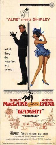 Gambit Movie Poster 14x36 Insert Shirley Maclaine Michael Caine Herbert LOM | eBay