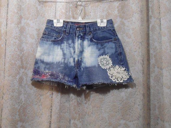 "Size 14 Slim 25"" Waist Bleached Frayed Lace Jean Shorts Levis 569 High Waist for the hippie boho beach surfer style by LandofBridget"